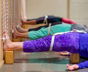 yoga pose with blocks